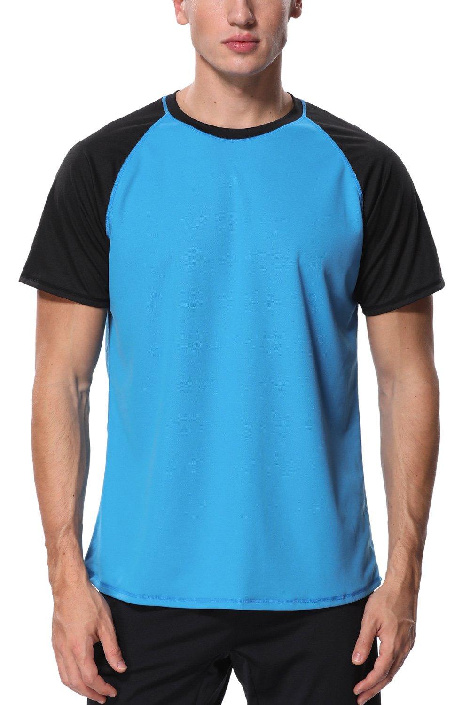 Charmo Swim Shirts uv Protection Shirt Mens Loose fit Rash Guard Swim Shirts Blue M by Charmo