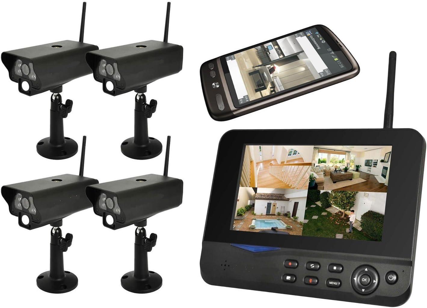 BONDWL 4 Cámara 5 m de infrarrojos sistema de circuito cerrado de televisión inalámbrico Digital con pantalla LCD de conectores de audio y acceso