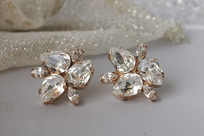 4aee2d022a52 Amazon.com  Bridal Rose Gold Earrings