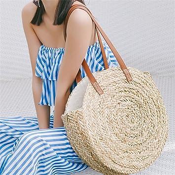7415842958 Onemoret ronds Paille Sacs marocain Palm Panier Sac Femme Sac de plage  tissé à la main