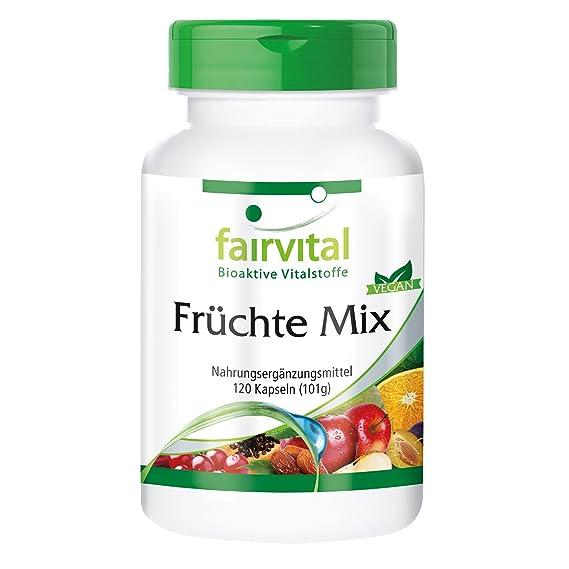 Fruit Mix - 1 mes - VEGAN - ALTA DOSIS - 120 cápsulas - polvo de fruta natural: Amazon.es: Salud y cuidado personal