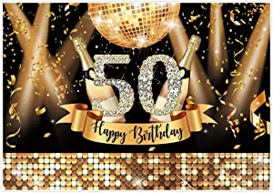 Allenjoy Happy 50th Birthday Party Backdrop Gold Glitter Fifty Years Old Photography Background for Adults Birthday Party Supplies Shiny Disco Diamonds Champagne Decor Banner 7x5ft Photo Booth Props