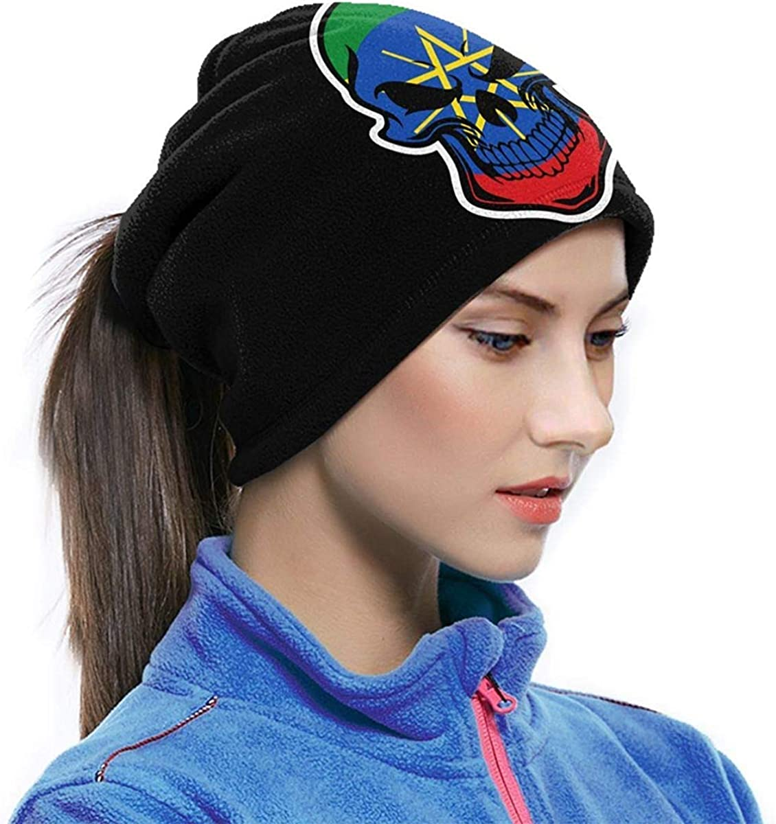 Ethiopian Flag Skull Microfiber Neck Warmer Balaclavas Soft Fleece Headwear Face Scarf Mask For Winter One Size