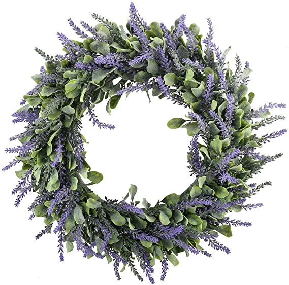 Huaesin Artificial Lavender Wreath Fake Silk Purple Front Door Wreath Plastic Summer Wreath For Summer Front Door Indoor Home Fireplace Wedding Decor 17 7 Inch 45cm Wide Amazon Co Uk Kitchen Home