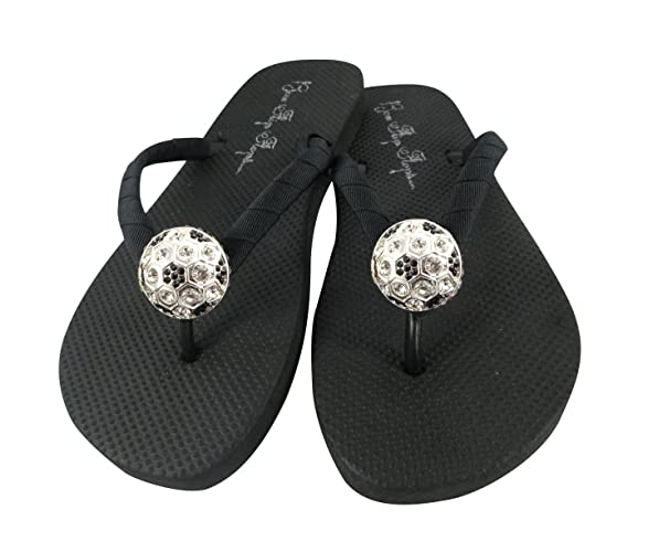 0d6a7a90c48756 Image Unavailable. Image not available for. Color  Soccer Moms   Soccer  Girls Rhinestone Flip Flops ...