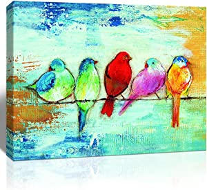 Loomarte Bird Pictures Wall Decor Five Singing Birds Oil Painting Canvas Print Artwork Abstract Painting Walls Art for Home Bathroom Bedroom Kitchen Living Room Ready to Hang, Framed 12x16 inch Panel