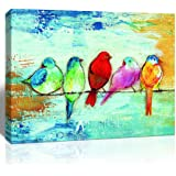 Loomarte Bird Pictures Wall Decor Five Singing Birds Oil Painting Canvas Print Artwork Abstract Painting Walls Art for…