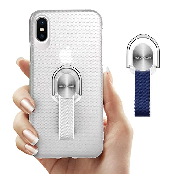 the latest ef07f 723e9 iPhone X/XS Case with Ring Kickstand & Finger Strap, Slim Fit Translucent  Hard Cover with Gray & Blue Finger Grips Loop for Apple iPhone X/10/XS ...