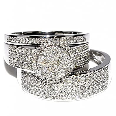 rings midwestjewellery his her 10k white gold halo style wedding ring 2 - Amazon Wedding Rings