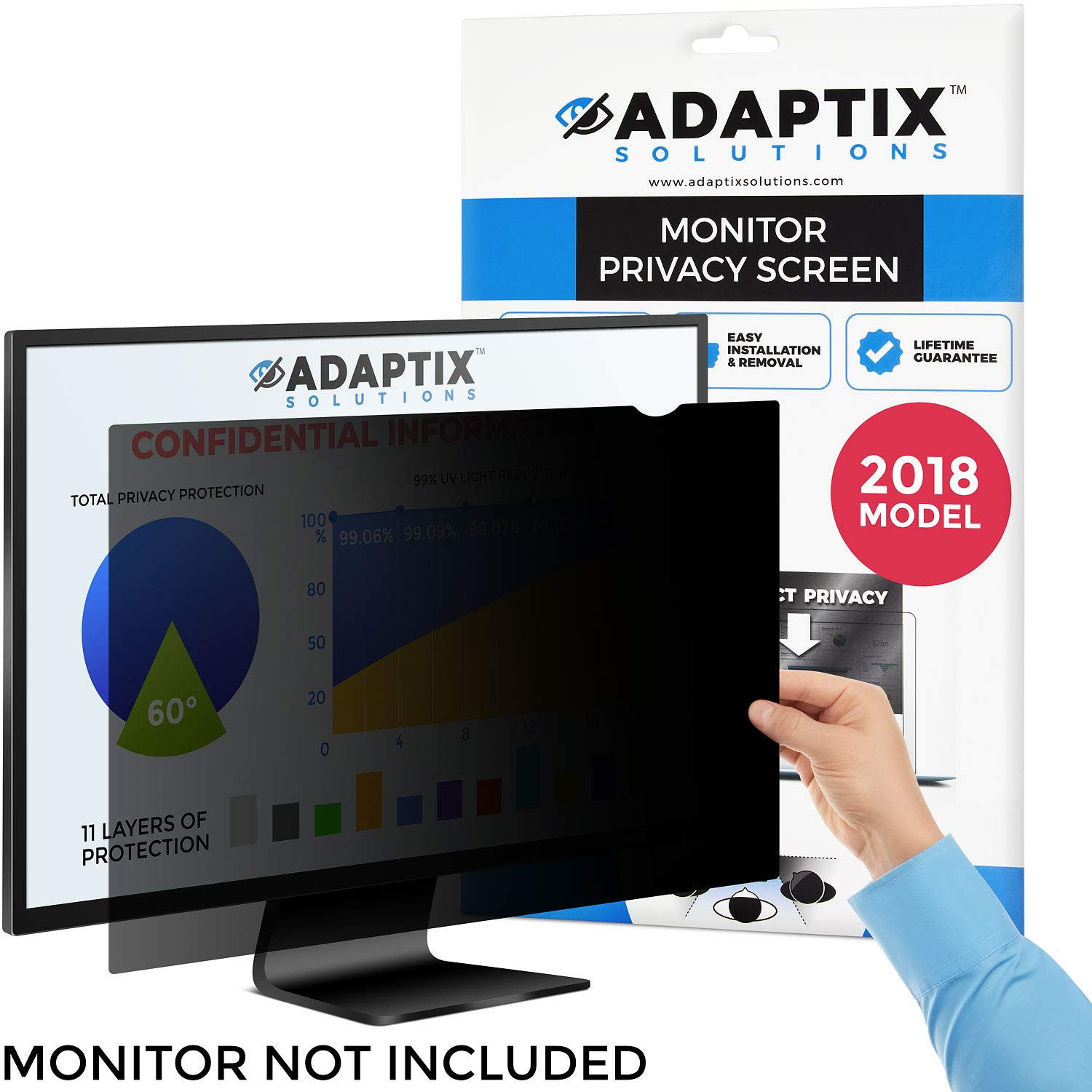 Adaptix 22.0 Inch Privacy Screen Filter (Diagonally Measured) 16:10 Aspect Ratio for Widescreen Computer LCD & LED Monitors - Anti Glare (APS22.0W)