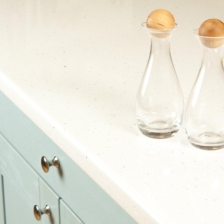 White Sparkle Gloss Effect Laminate Kitchen Worktops - Andromeda ...