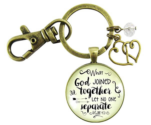 christian womens keychain what god has joined congratulations bridal shower wedding gift bronze heart jewelry