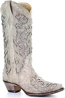 Women Pointy Toe Tabs Mid Calf Boots Ladies Slip On Block High Heel Cowboy Boots