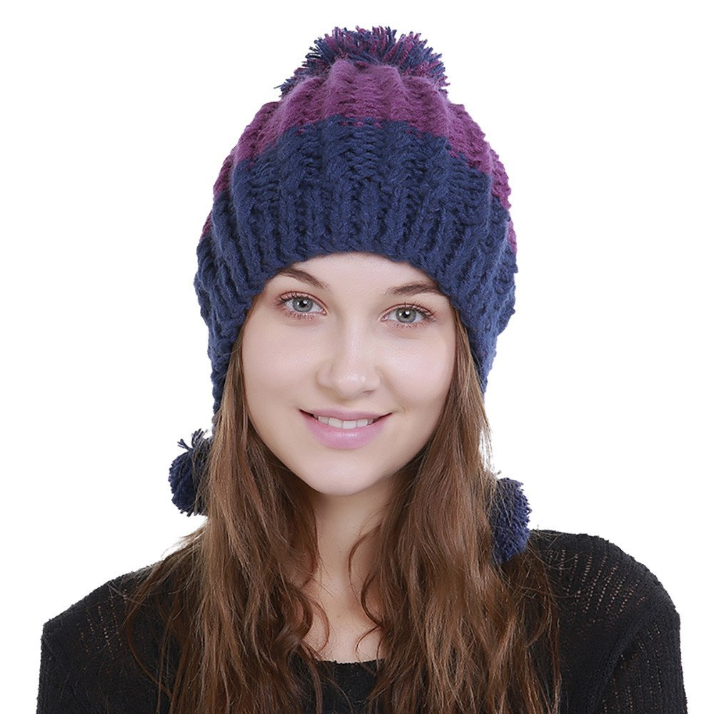Twgone Knit Cap For Women Wool Color Block Warm Beanie Winter Hat
