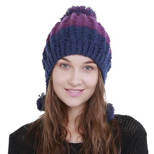 b1f8c6e8d43 TWGONE Knit Cap For Women Wool Color Block Warm Beanie Winter Hat Ski  Crochet Cap Pom Pom(One Size