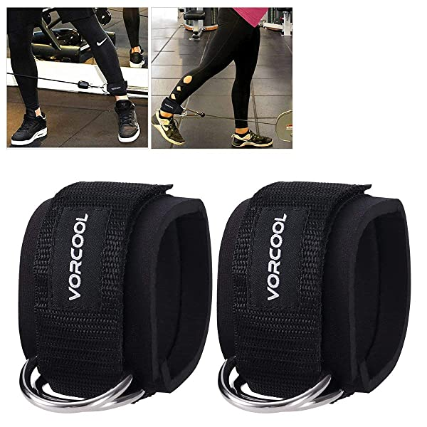 VORCOOL 2PCS Ankle Straps for Cable Machines Weightlifting Gym Workout Fitness Double D-Ring Neoprene Padded Ankle Cuffs for Legs, Abs and Glute Exercises with Carry Bag Fits Men&Women (Color: Black)