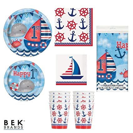 Bek Brands Nautical 1st Birthday Party Supplies