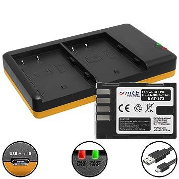 Batería + Cargador doble (USB) para DMW-BLF19, BP-61 ...