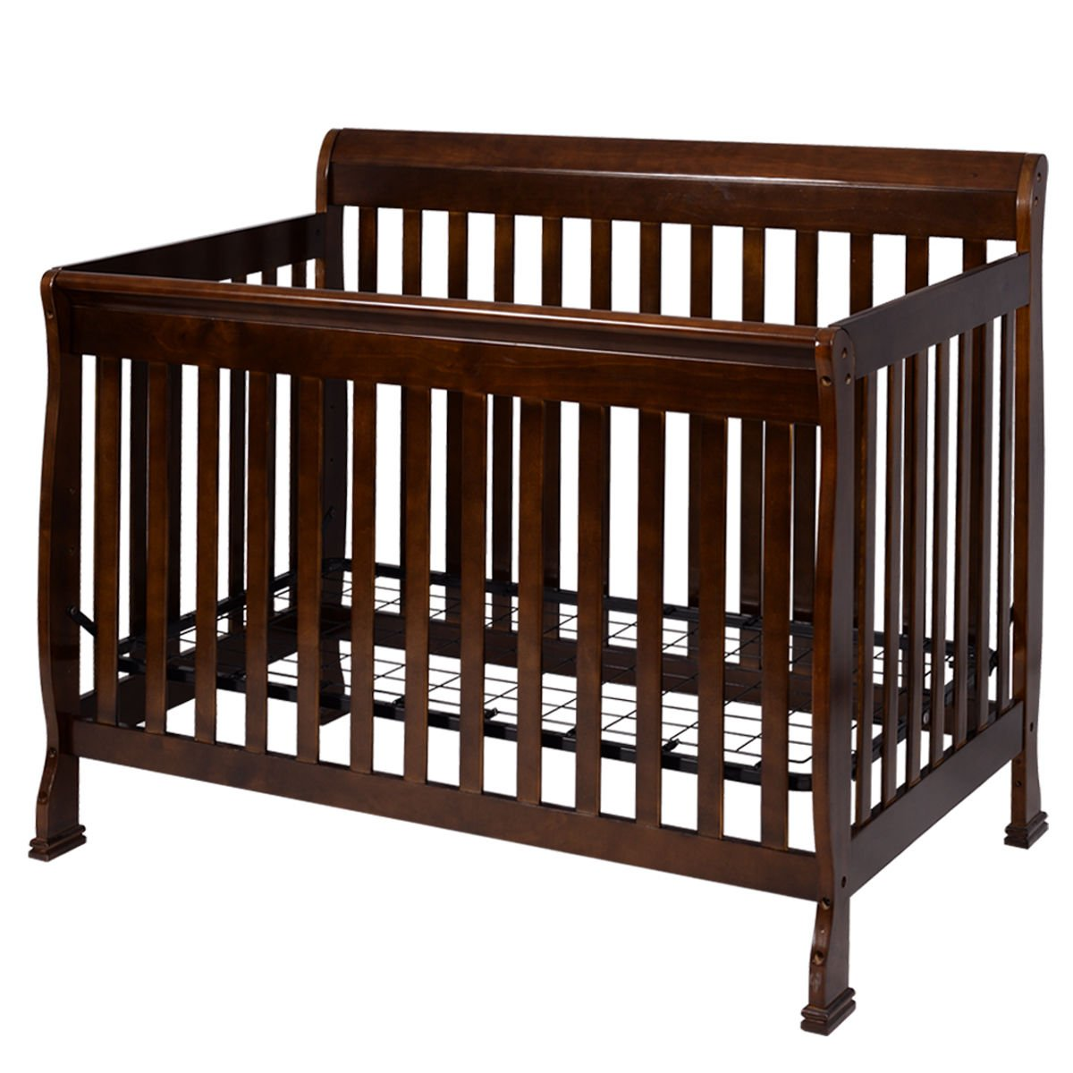 Coffee Pine Wood+Iron Baby Bed With Ebook