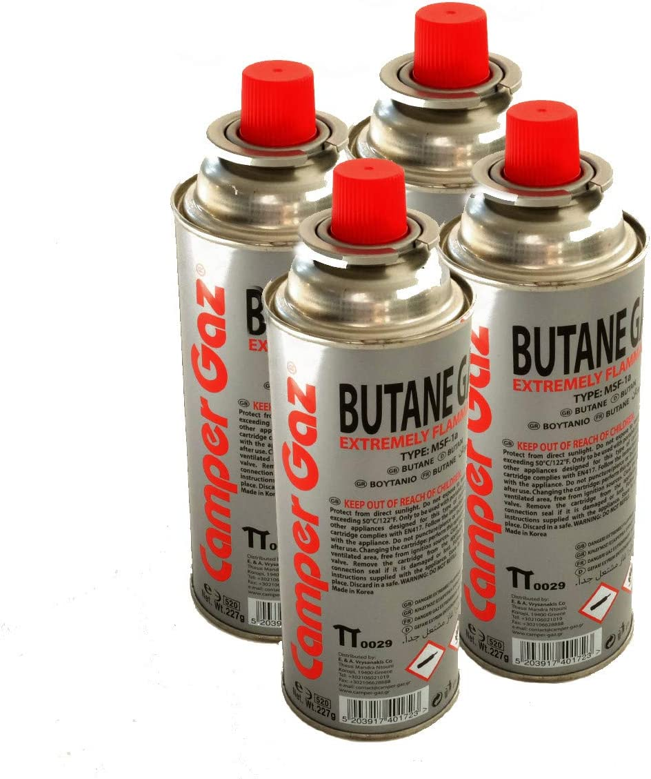 Pack de 4 cartucho gas Camper Gas 227 gr butano – Botella de Gas con baillonnette 227 gr – Bombona para réchauds Camping
