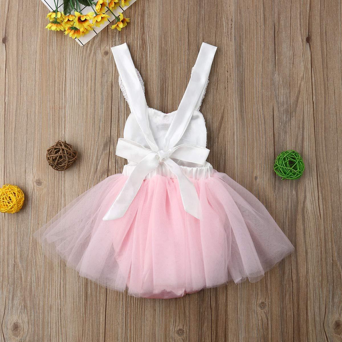 7953dcf25 Amazon.com: Newborn Infant Baby Girls Cute Bodysuit Halter Sleeveless  Romper Tutu Dress Summer Clothes 0-24M: Clothing