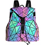 Geometric Luminous Backpack Holographic Purses and Handbags for Women Reflective Bags Wallet Clutch Set NO.2