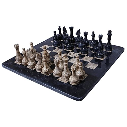 Radicaln Handmade Black & Coral Chess Set 32 Weighted Chess Pieces Antique Chess Board Set-Radicaln Handmade Black & Coral Chess Set 32 ​​pièces d'échecs pondérés Antique Chess Board Se