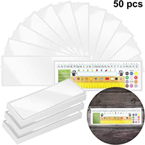 50 Pieces Nameplate Pocket Self-Adhesive Desk Name Tag Pocket Clear Adhesive Pockets for Classroom Office, 13.4 x 4.7 Inch
