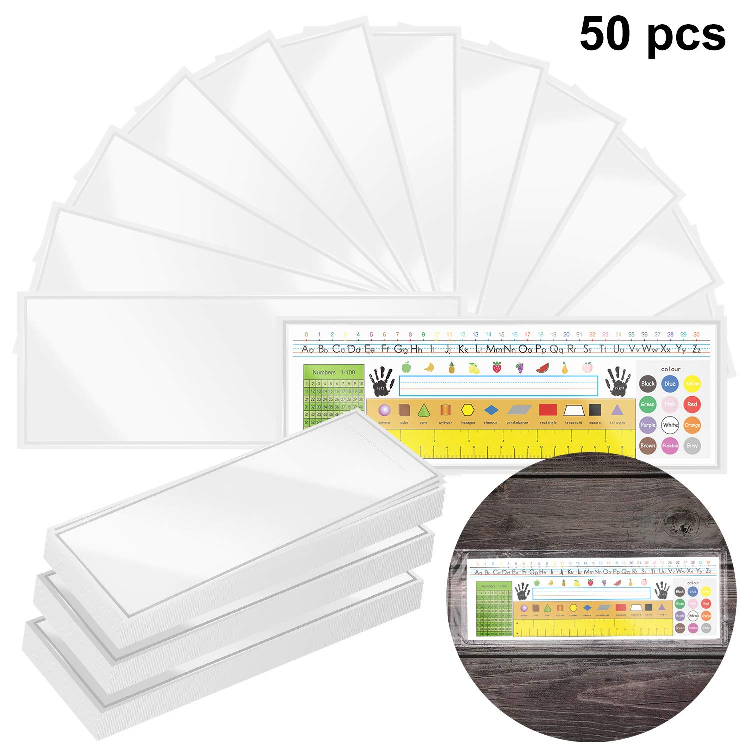 50 Pieces Nameplate Pocket Self-Adhesive Desk Name Tag Pocket Clear Adhesive Pockets for Classroom Office, 13.4 x 4.7 Inch by Outus