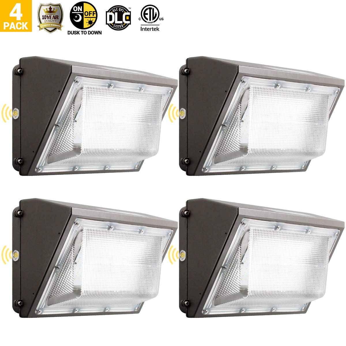 60W Led Wall Pack Light with Photocell, 4PK Outdoor Security Lighting, 5000K Daylight, 6600LM, Lifetime 50000H, Ip65 Waterproof Area Lighting, 10 Years Warranty