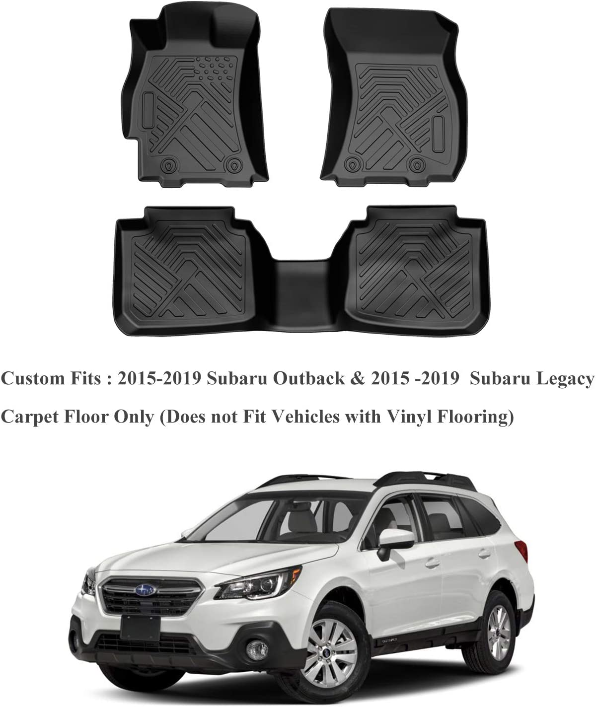 Waterproof Floor Liners Custom Fit for 2015-2019 Ford Escape,1st and 2nd Row Included-All Weather Heavy Duty Rubber Floor Protection,Black COOLSHARK Ford Escape Floor Mats