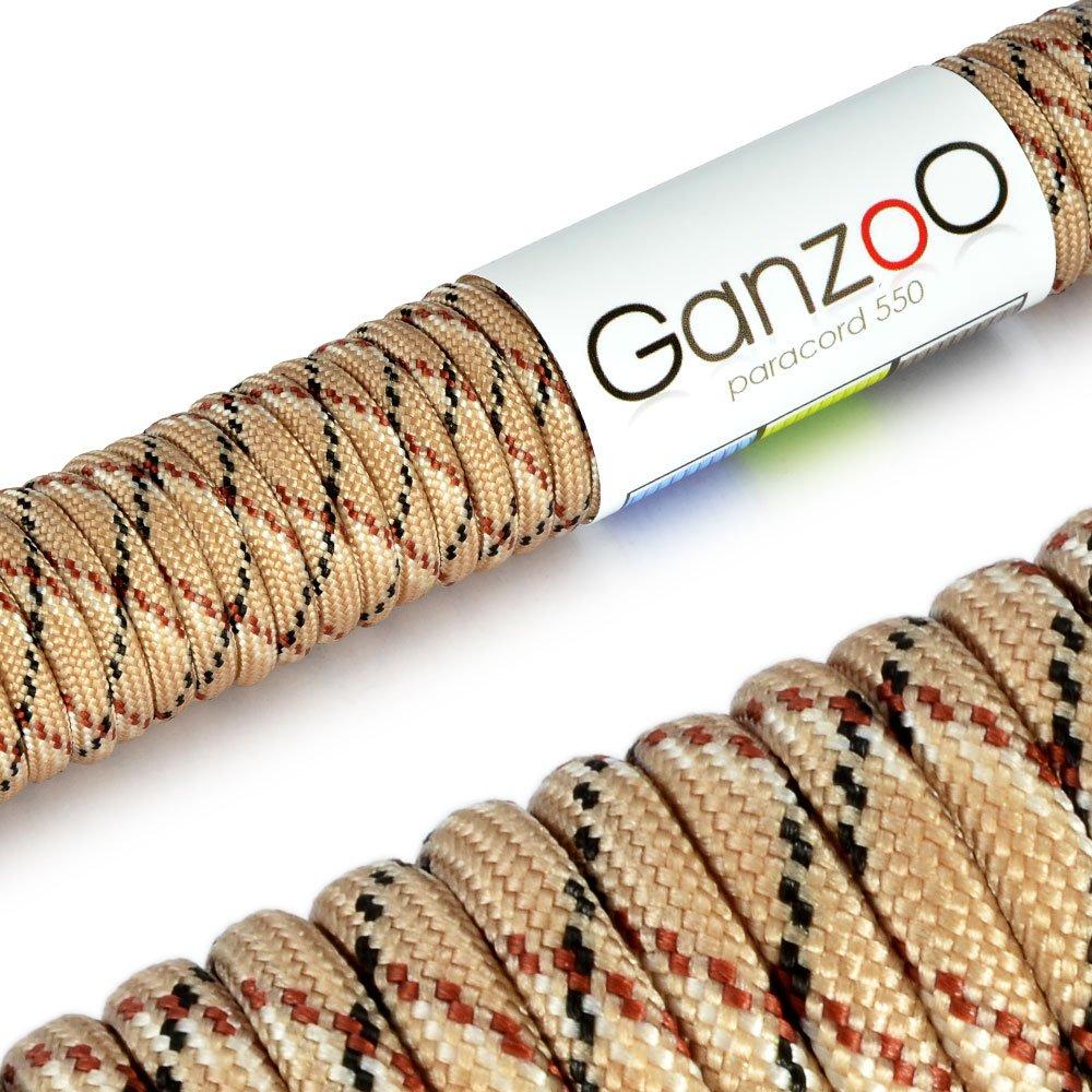 Universell einsetzbares Survival-Seil aus reißfestem Parachute Cord / Paracord (Kernmantel-Seil aus Nylon), 550lbs, Gesamtlänge 31 Meter (100 ft) DIESES PARACORD SEIL IST NICHT ZUM KLETTERN GEEIGNET! Farbe: camouflage - Marke Ganzoo #5011ca+3