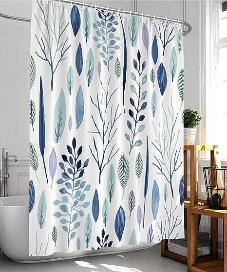 Waterproof Bathroom Bath Shower Curtain Fabric Flower Print Modern Decor Hook