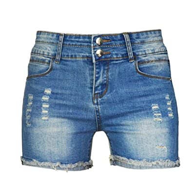 PHOENISING Women's Sexy Stretchy Fabric Hot Pants Distressed Denim Shorts, Size 2-16 at Women's Clothing store