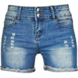 PHOENISING Women's Sexy Ripped Hole Short Pants Distressed Denim Shorts,Size 6-20