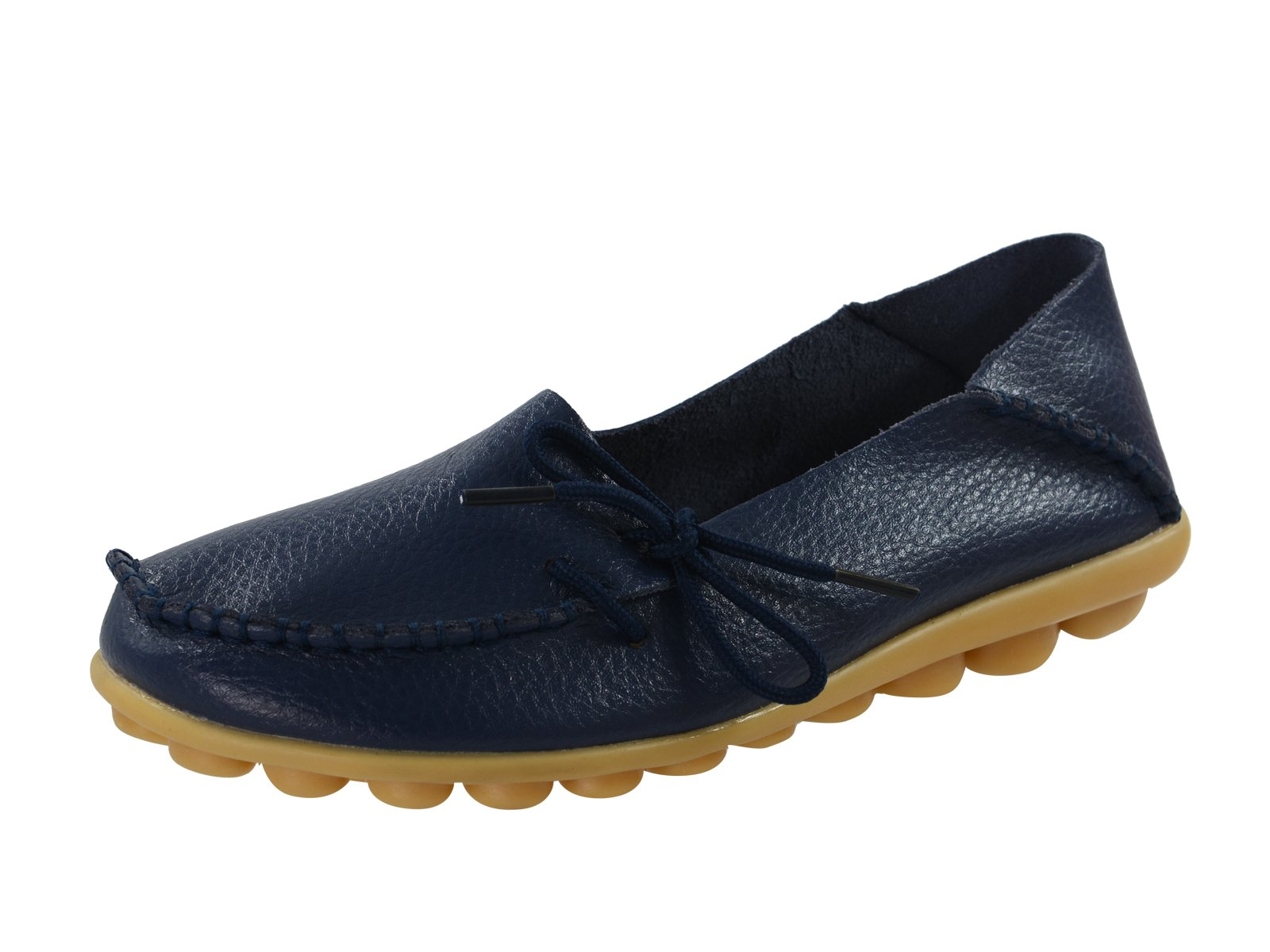 Century Star Women's Casual Cowhide Lace-Up Slip-On Driving Moccasin Loafer Flats Slippers Boat Shoes Dark Blue 7 B(M) US