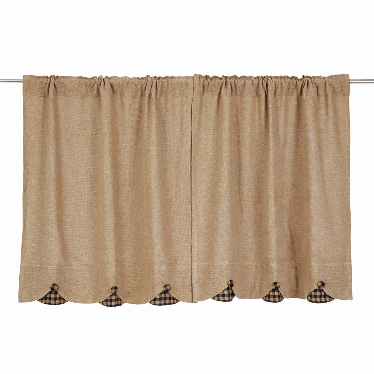 29604 VHC Brands Burlap with Black Check Scalloped Tier Set of 2 36x36