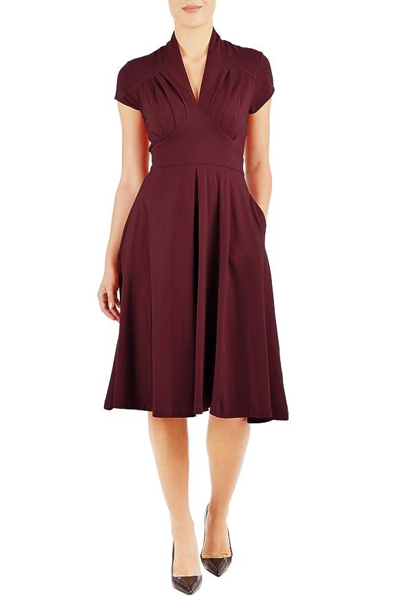 Plus Size Retro Dresses 1940s Feminine pleated cotton knit dress $58.95 AT vintagedancer.com