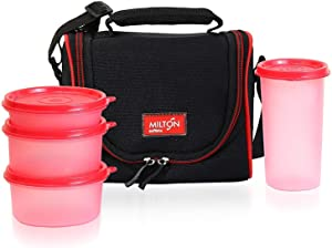 Milton LUNCH BAG ~ SET of 5 ~ Insulated Lunch Box With Reusable and Leak Proof Containers and Water Bottle Double Zipper Lunch Bag For Adults and Kids ~Great for School~ Black