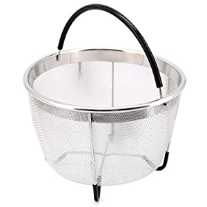 Bonison Stainless Steel Steamer Basket for Instant Pot, with Silicone Wrapped Handle, Custom Fit for 5/6 QT or 8 QT InstaPot Pressure Cooker. Perfect for Steam Egg, Meat, Veggie. (8 QT)