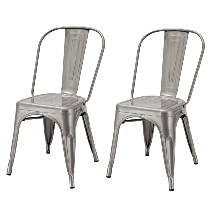 Merveilleux Adeco Metal Stackable Industrial Chic Dining Bistro Cafe Side Chairs (Set  Of 2),