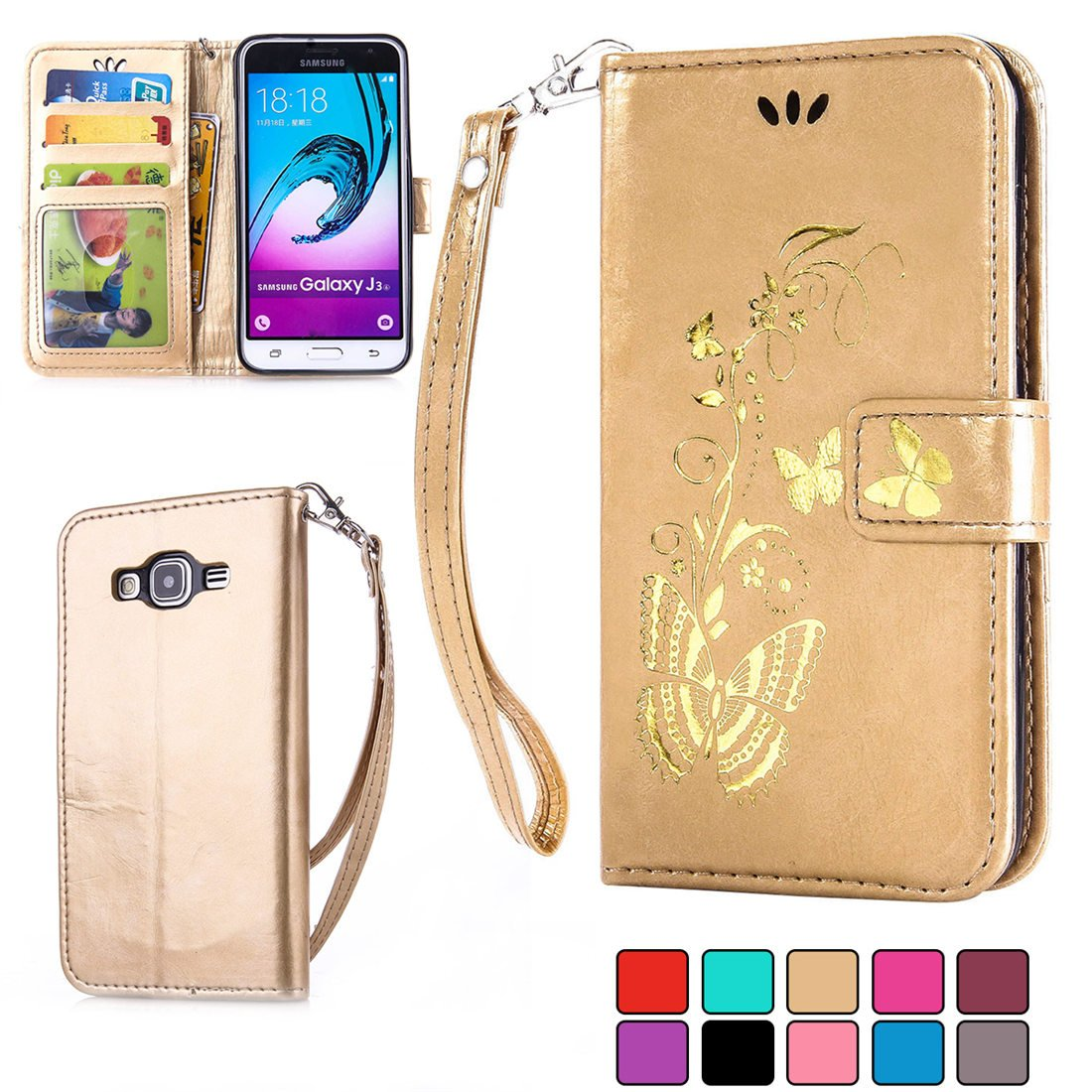 Samsung Galaxy J3 (2015/2016) Wallet PU Leather Case [with Free Tempered Glass Screen Protector],iFeeker Stand Function Retro Flip Case with Lanyard Strap/Rope, Elegant Vintage Pressed Gold Butterfly Flower Pattern Magnetic Closure Credit Card/Cash Holde