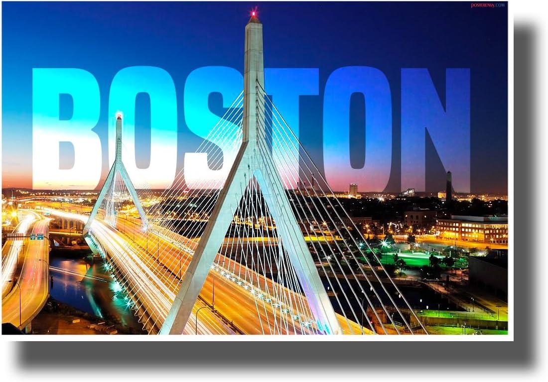 Zakim Bridge - Boston, Massachusetts - NEW U.S State City Travel Poster