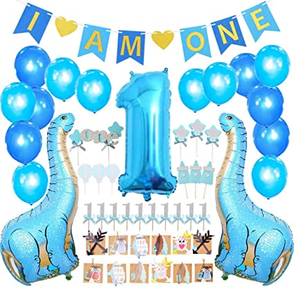 FIRST BIRTHDAY DECORATION SET FOR BOY 1st Baby Boy Birthday Party I AM ONE
