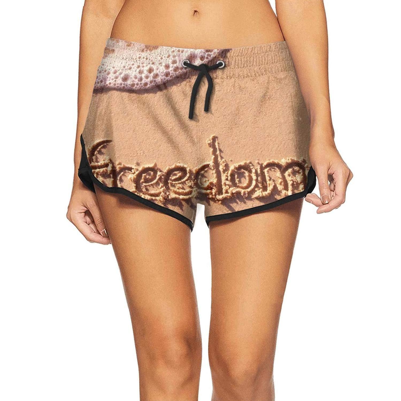 APHSHORTS Summer Beach Sand Freedom Swim Shorts for Women Funny Board Shorts Womens Swimwear Pants
