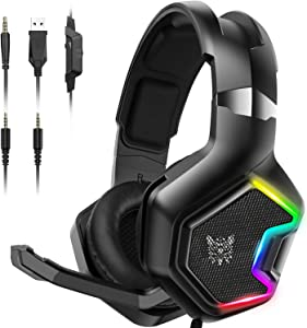 ONIKUMA PS4 Headset -Xbox One Headset Gaming Headset with 7.1 Surround Sound Pro Noise Canceling Gaming Headphones with Mic & RGB LED Light for PS4,MAC,PC,Nintendo 64,Xbox One(Adapter Not Included)
