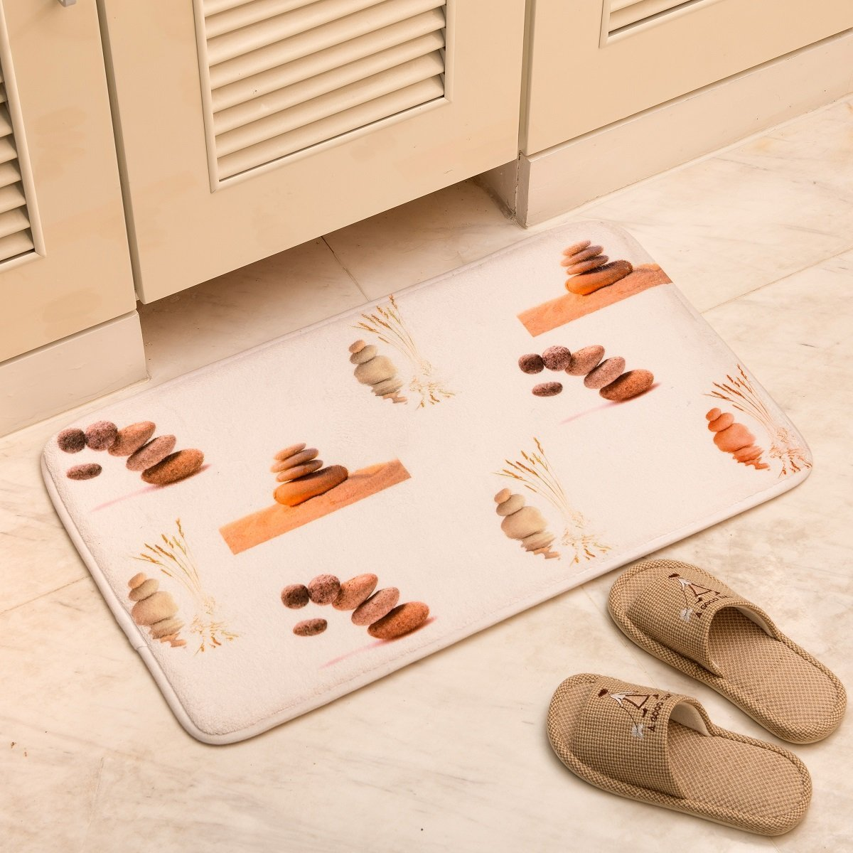 for Bedroom Living Room Aboo AO-4575 Bath Rug Kitchen Carpet Runner Mat Floor Mats Soft Doormat 29.5 x 17.7 Inch White with Red Pattern