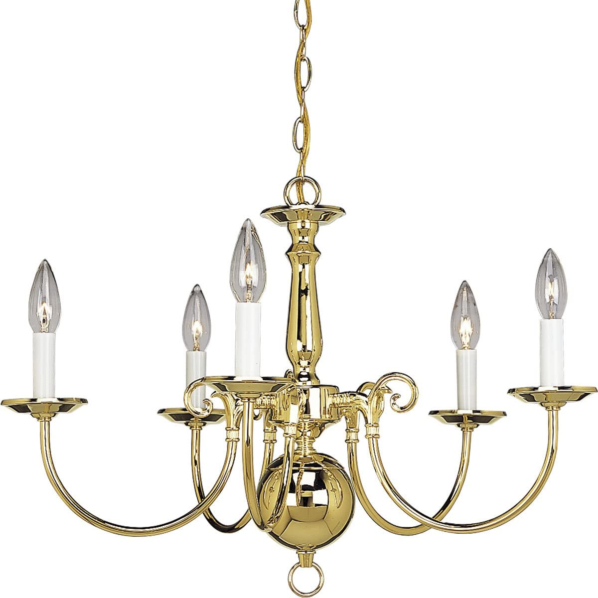 Progress Lighting P4346-10 5-Light Americana Chandelier with Delicate Arms and Decorative Center Column, Polished Brass