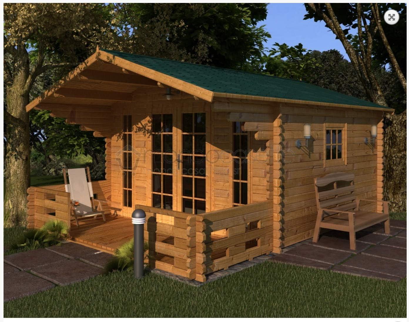 Mondocasette Casa Casa de Madera de jardín – Modelo Milano Grosor Paredes 45 mm 380 x 380 Cm, ripostiglio Box legnaia: Amazon.es: Jardín