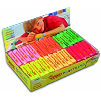 Jovi Plastilina Reusable Non-Drying Modeling Clay; 1.75 Oz. Bars, Set of 30, 5 Each of 6 Neon Colors, Perfect for Arts…